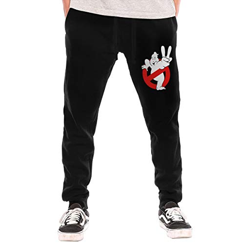 Cheny Men's Ghostbusters Faded Logo Active Basic Jogger Pants Sweatpants Pocket -