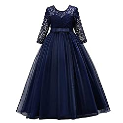 Girls Floor Length 3/4 Sleeve Lace Gown