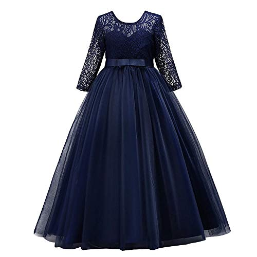 (Girl Long Sleeve Vintage Peony Lace Tutu Princess Pageant Cocktail Dresses Kids Prom Ball Gown Wedding Junior Bridesmaid 4-14 Years B Navy Blue 11-12 Years)