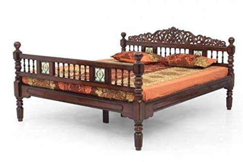 PNA FURNITURRE Queen Beech wood Bed Without Storage     Brown