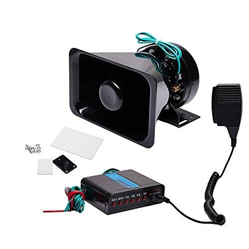 Xprite 100W 12V Police Siren 7 Tone PA System Electronic Emergency Vehicle Warning Siren-Speaker PA System Set w// Handheld Microphone