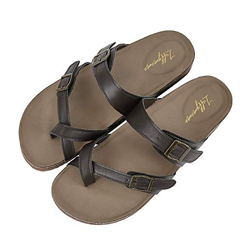 - LUFFYMOMO Womens Slide Sole Sandals Cork Footbed Adjustable Thong Flat Sandals(10 M US Brown Thong)