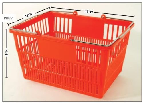 New - 12 Red Durable Break Resistant Plastic Shopping Baskets W/metal Stand