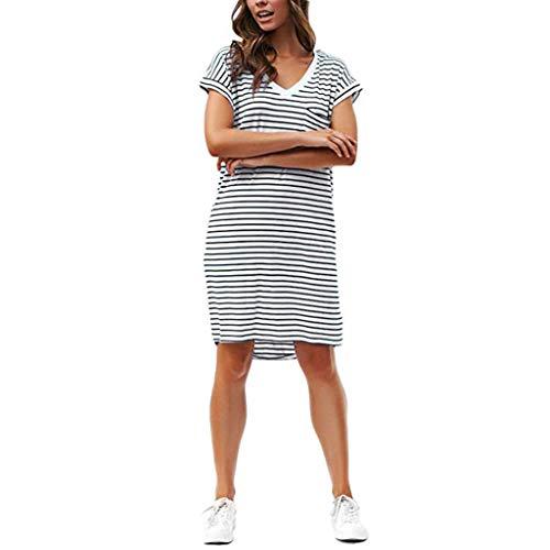 (LONGDAY Women Summer Dress Sundress Skater Dress Long Shirt Short Sleeves T-Shirt V-Neck Minidress Knee Length Tunic)