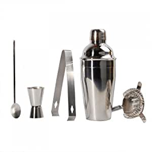 Set of 5 Stainless Steel Martini Cocktail Drink Shaker Kit