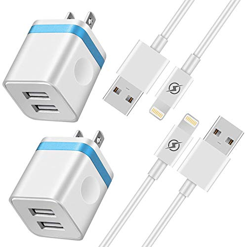 Dual Sync Cord - NNICE Phone Charger 6Ft with Plug, 6 Foot Fast Charging Cable Sync Cord and Dual Port UL Certified USB Wall Charger Adapter Compatible with Phone XS/XS Max/XR/X/ 8/7/ 6S Plus, 5C/ 5S/ SE(4 in I)