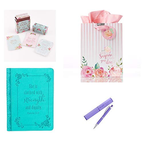 (Inspirational Gift Set with Journal, Box of Blessings, Pen and Bag)