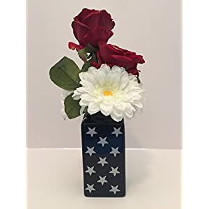 SUMMER TIME FUN - MEDIUM CERAMIC BLUE WITH WHITE STARS VASE - RED WITH GOLD GLITTER TIPS VELVET ROSES, WHITE GERBER DAISIES, AND WHITE RHODODENDRON 15