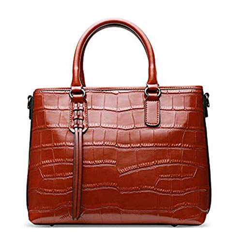 Embossed Leather Shoulder Bag - Women Genuine Leather Handbags Embossed-Crocodile Cowhide Top-handle Bags Shoulder Bags