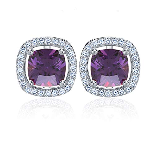 - UPRIMOR Jewelry Women's Purple Stimulated Diamond AAA Square Cut CZ 4 Prong Platinum Plated Stud Earrings 10mm