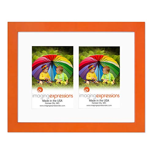 Imaging Expressions Orange Picture Frame 11x14 - Use Thick Beveled Mat to Display Two 4x6 Photos - Wall Hanging Display - Made in The USA