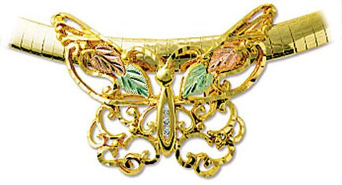 Landstroms 10k Black Hills Gold Diamond Butterfly Pendant - BR405X (Pin Butterfly Brooch Diamond)