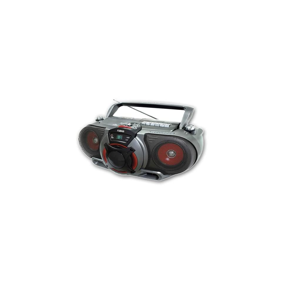 NAXA NX 249 Portable /CD AM/FM Stereo Radio Cassette Player/Recorder w/ Subwoofer and Remote Control