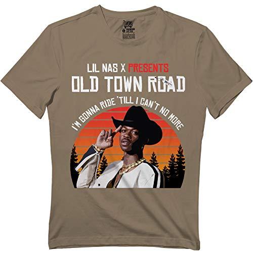 Springtee Old Horses Riding Lil-NAS Cowboy Rapper West Country X Tshirt Brown Savana (Cyrus Ray T-shirt Billy)