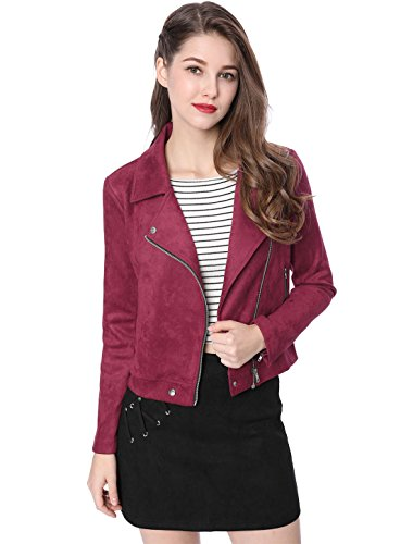 Allegra K Women's Convertible Collar Zip Up Faux Suede Moto Jacket S ()