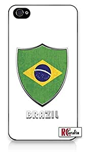 Premium Brazil Flag Badge Direct UV Printed iPhone 4, 4s Quality TPU SOFT RUBBER Snap On Case for iPhone 4 - AT&T Sprint Verizon - White Case by supermalls