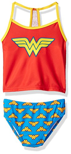 Warner Bros. Big Girls' Wonder Woman Costume Swimsuit, Candy, 4