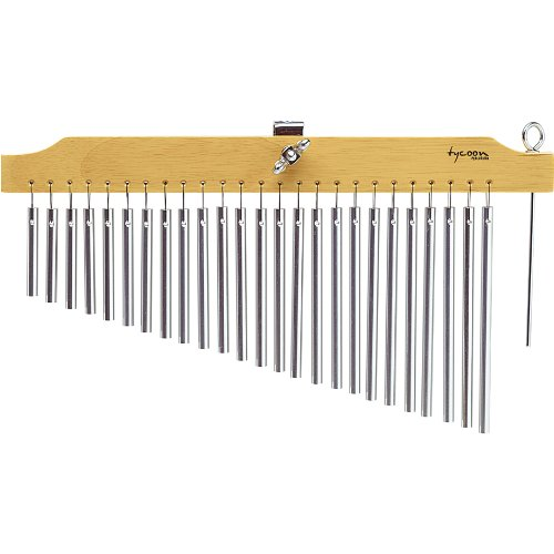 Tycoon Percussion 25 Chrome Chimes With Natural Finish Wood Bar by Tycoon Percussion