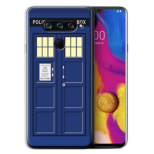 eSwish Gel TPU Phone Case/Cover for LG V40 ThinQ/Blue Design/Tardis Phone Box Art Collection
