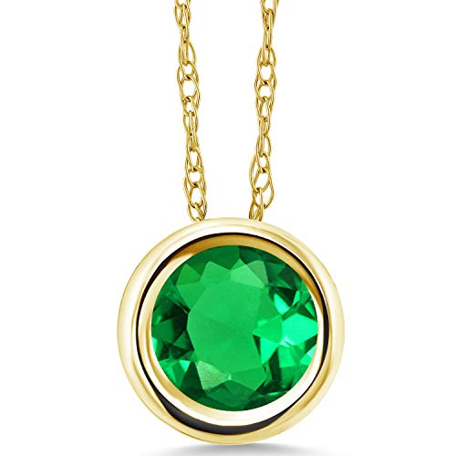 Yellow Gold Emerald Pendant - Gem Stone King 1.50 Ct Round Green Simulated Emerald 14K Yellow Gold Pendant With Chain