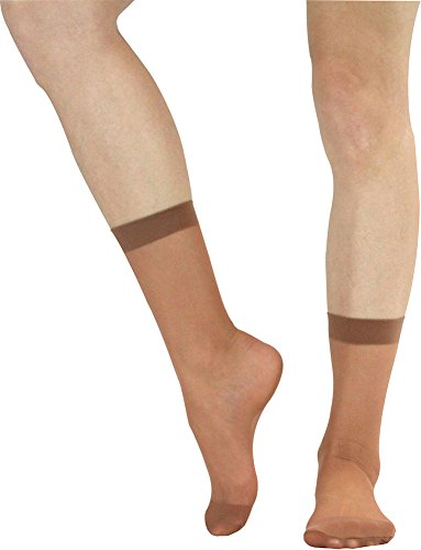 ToBeInStyle Women's Pack of 6 Sheer Nylon Ankle to Mid-Calf Short Stockings - SUNTAN - One Size Regular