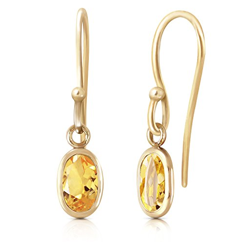 Hook Gold Citrine - 14k Solid Gold Citrine Fish Hook Earrings