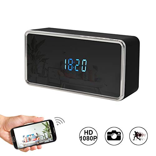 Spy Camera Wireless Hidden WiFi Clock Camera 1080P HD Nanny Cam with Security Home/Office, Intercom, Motion Detector, Night Light, Support iOS/Android