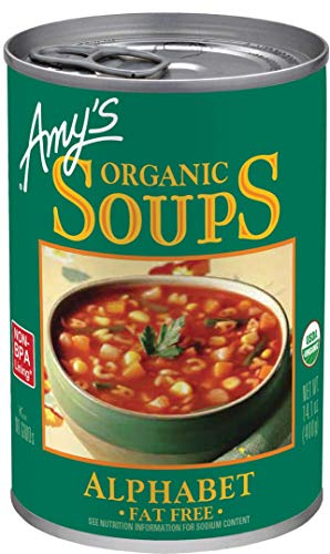 Fat Free Soup - Amy's Organic Soups, Fat Free Alphabet, 14.1 Ounce (Pack of 12)