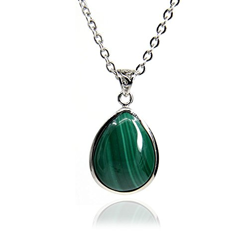 Amandastone Gemstone 20MM Natural Malachite Teardrops Charm Pendant Necklace 18''