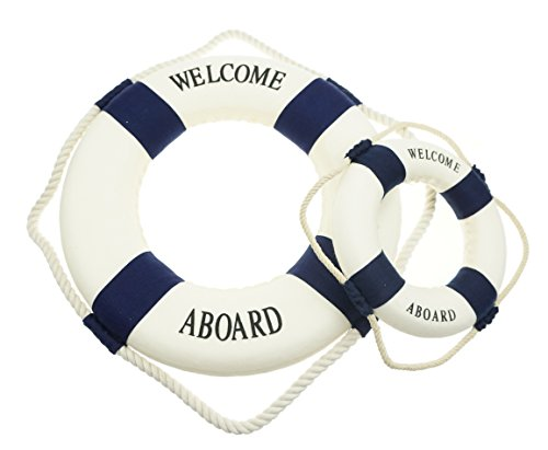 Bilipala Rustic Nautical Decorative Welcome Cloth Life Ring Buoy Home Wall Door Hangings Decor, Blue, Pack of (Decorative Life Preserver)