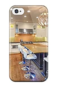 New Arrival Case Specially Design For Iphone 4/4s (warm Tones Kitchen Island With Modern White Bar Stools)