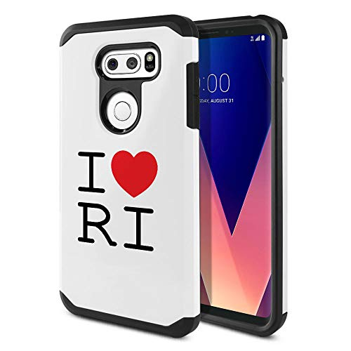 FINCIBO Case Compatible with LG V30 V30+ Plus H930 VS996 H931 H932 US998 6 inch, Dual Layer Hard Back Hybrid Protector Case Cover Anti Shock TPU for LG V30 V30+ Plus - I Love RI Rhode Island
