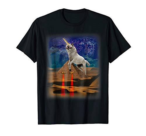 Super Unicorn Illuminati Cat Protecting The Pyramids T-shirt