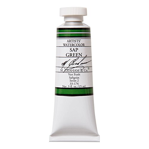 Color Sap Green - M. Graham 1/2-Ounce Tube Watercolor Paint, Sap Green