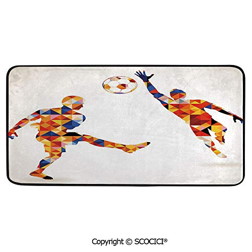 Soccer Player Peel - Print Door Mat, Indoor Floor Area Carpet Compatible Bedroom,Living Room,Children, Playroom, Bathroom,Sports,Abstract Decor with Football Soccer Players in Geometrical,39