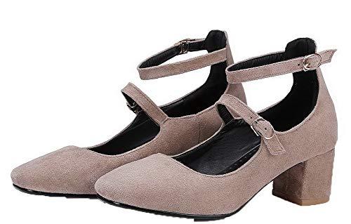 GMMDB006495 Puro AgooLar Tacco Fibbia Flats Medio Donna Albicocca Ballet Quedrata Punta x6qz7wO