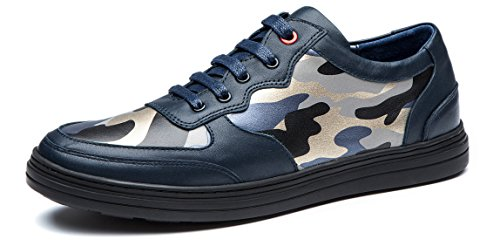 OPP Mens Autumn Handmade Genuine Cow Leather Lace-up Camouflage Design Non-slip Dress Low Shoes Blue aUU89