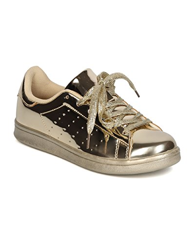 Qupid FF60 Women Metallic Leatherette Round Toe Lace Up Sneaker – Gold (Size: 8.0)