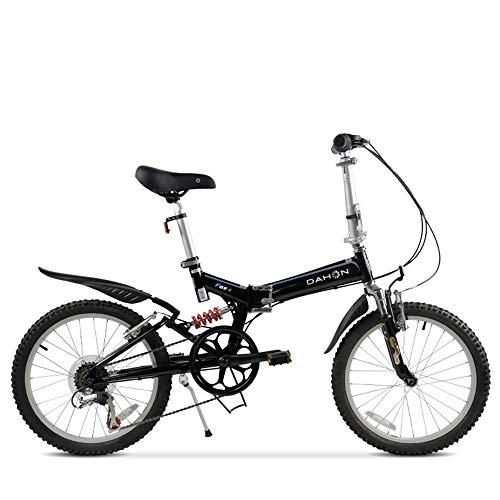 Jin Folding Mountain Bike Folding Bicycle Double Shock Absorption Shift Adult Male and Female Students 20 Inch 6 Speed (Best Lock For Dahon Folding Bike)
