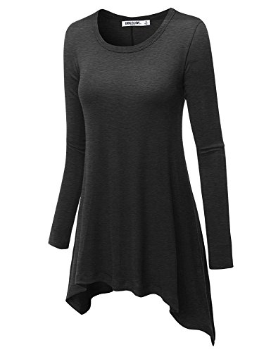 WT953 Womens Round Neck Long Sleeve Rib Trapeze Tunic Top M Heather_Charcoal