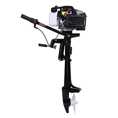 LEADALLWAY 4HP 4Stroke Outboard Motor, Inflatable Fishing Boat Engine w/Air Cooling System-Full Saltwater and Freshwater Compatibility