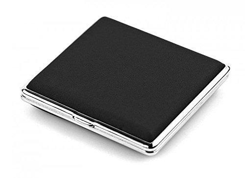 Zigaretten Etui black echt Leder Herren Damen Zigaretten Box silber Genuine Leather (schwarz) 4419