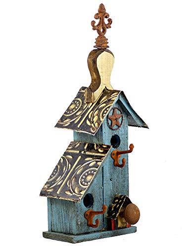 (Rustic Split-Level Birdhouse with Finial, American Made Reclaimed Wood, 24.5