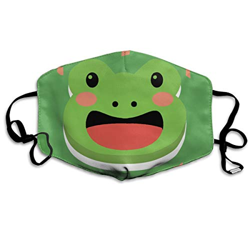 Cute Frog Green Print Mouth Mask Unisex Anti-Dust Mask Reusable Mask for Men and -