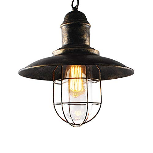 Ladiqi Vintage Industrial Hanging Pendant Light Chandelier Lighing Dark Rust Cage with Clear Glass Inner Shade by Ladiqi