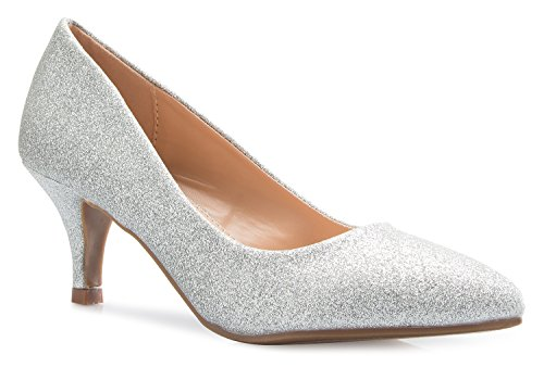 OLIVIA K Women's Classic D'orsay Closed Toe Kitten Heel Pump | Dress, Work, Party Low Heeled Pumps | high Casual Comfortable Sale