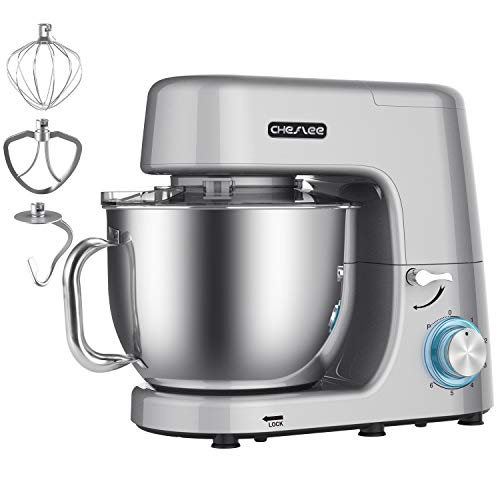 CHeflee 1800W Stand Mixer 7,2L High Power Food Mixer with Bowl, Dough Blender,Dough Hook, Beater, Whisk, Low Noise, Grey