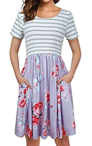Midi 2 Dress Swing Short Jaycargogo Patchwork Womens Sleeve Print Pocket aaZv0Fzq