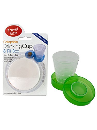 bulk buys Collapsible Drinking Cup and Pill Box, Case of 24 (Collapsible Box Pill)