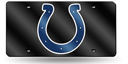 Indianapolis Colts BLACK Deluxe Laser Cut Mirrored License Plate Tag ()